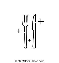 Knife fork line icon