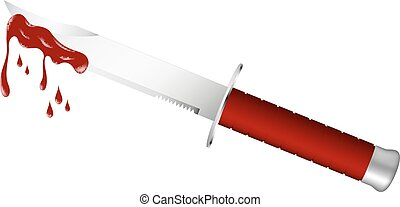 Knife with dark red handle and bloody blade on white background