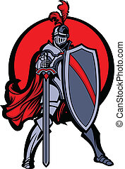 Standing Medieval Knight Mascot Wearing Armor and Holding a Shield and Sword