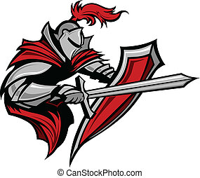 Warrior or Medieval Knight Vector Mascot wearing Armor