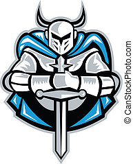 Illustration of a knight with sword facing front done in retro woodcut style.