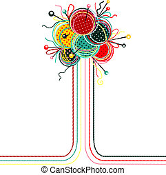 Vector EPS 8 graphic illustration of brightly colored yarn balls with needles.
