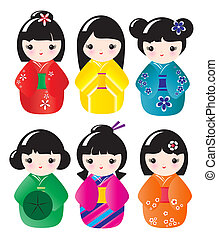 Kokeshi dolls in various designs isolated on white. EPS10 vector format