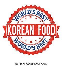 Korean food grunge rubber stamp on white background, vector illustration