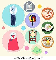 Korean traditional elements vector set. Drum clothes fan food