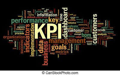KPI key performance indicators in word tag cloud on black background