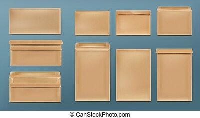 Kraft envelopes blank brown covers template set