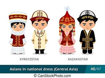 Kyrgyzstan, Kazakhstan. Men and women in national dress. Set of asian people wearing ethnic traditional costume.