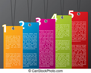Colorful hanging label set with numbers from 1 to 5