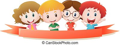 Label template with four kids smiling