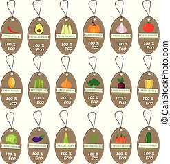 Set templates price tags for markets and shop of organic food