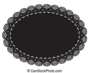 Lace Doily Placemat, Black