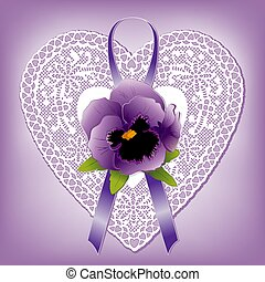 Lace Heart Doily, Victorian Style Gift Ornament, Violet Pansy, Ribbon