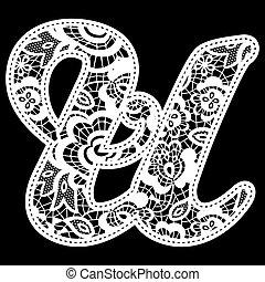 lace wedding initial u
