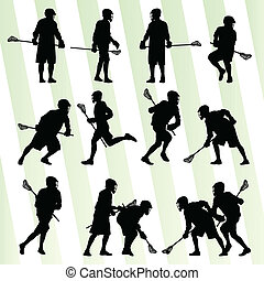 Lacrosse player in action vector background set for poster
