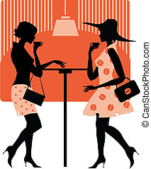 Vector illustration of two retro style ladies in cafe