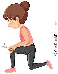 Lady having joint pain illustration