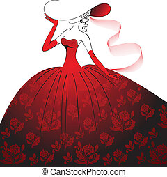 Lady in red evening dress