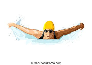 illustration of lady swimming on isolated background
