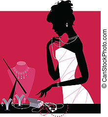 Vector illustration of a lady wearing jewelery