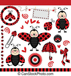 Scalable vectorial image representing a ladybug digital scrapbook, isolated on white.