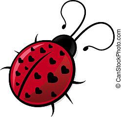 Illustration of ladybug with hearts