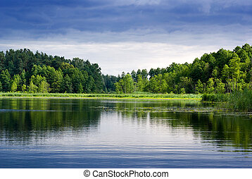 Beautiful lake view - bright interval between rain.