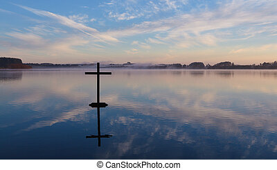 Cross On Water with a beautiful reflection.