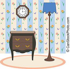 Lamp clock and furniture