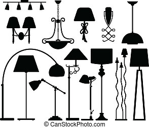 A set of lamp light design in silhouette.