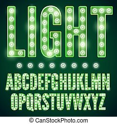 Green neon alphabet font with show lamps, vector illustration