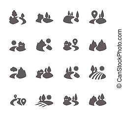 Simple Set of Land Related Vector Icons for Your Design.