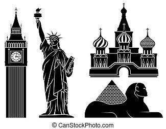Illustrations of world famous places.