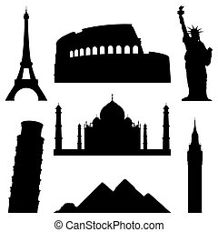 Set of 7 silhouettes of world famous places.