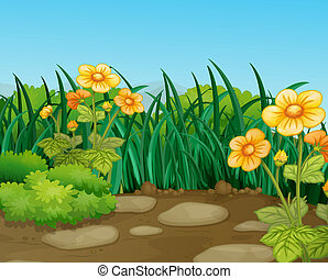 illustration of a beautiful nature landcape