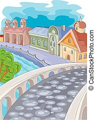 landscape of a small historical city with a beautiful bridge paved with stones, vector illustration,
