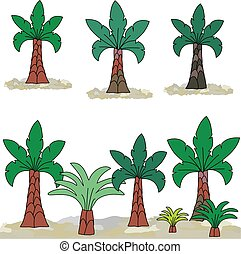 Landscape with a stone. Palm tree on Clip Art.