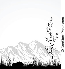 Landscape with mountain range, glass and tree. Vector illustraton.
