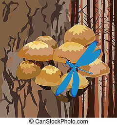 landscape with mushrooms on a tree