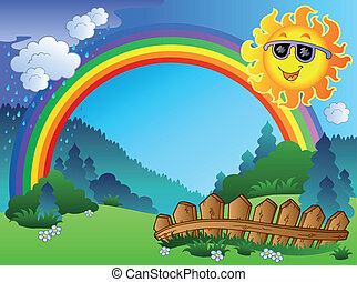 Landscape with rainbow and Sun