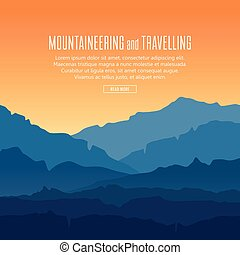 Vector landscape with blue silhouettes of mountains and hills with beautiful orange evening sky. Mountaineering and travelling background with huge mountain range silhouettes in twilight.