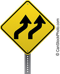 Lanes shifting traffic warning sign. Diamond-shaped traffic signs warn drivers of upcoming road conditions and hazards.