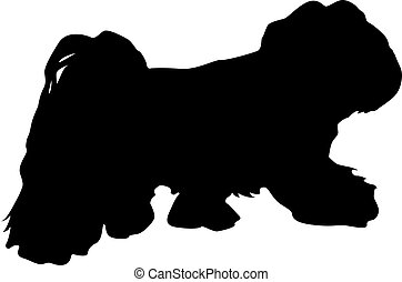 Lap dog silhouette on a white background.