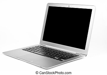Thin silver laptop open with black blanc screen isolated on white background