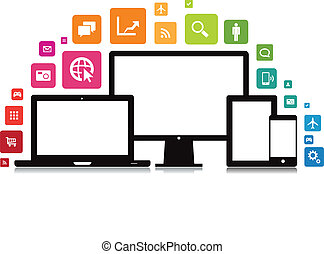This image is a vector file representing a set of media technology devices with app icons.