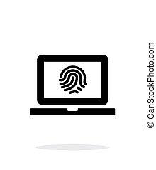 Laptop fingerprint icon on white background.
