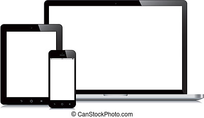 laptop smartphone and tablet mockup white background