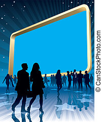 People and a large blank billboard, vector illustration.