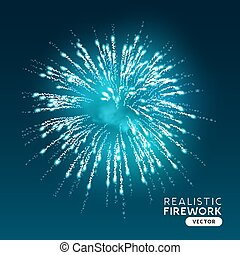 Large Blue Realistic Firework Vector