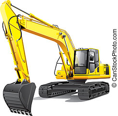 detailed vectorial image of large yellow crawler excavator, isolated on white background. File contains gradients. No blends and strokes.